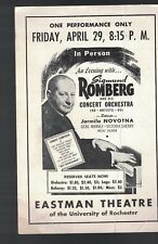 Sigmund Romberg & His Orchestra mailing ad 1940s Rochester Ny