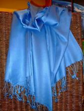 SEIDENTRÄUME Pashmina 5613 Blau Reine Seide Seidenschal Seidenstola Seidentuch
