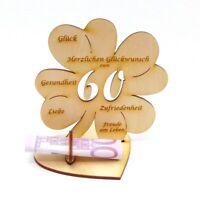 Geschenk zum 60. Geburtstag 60 Jahre graviert Kleeblatt 11 cm Geldgeschenk Holz