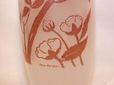 Vase en verre opalin décor Oiseaux en relief signé Joe Poi?