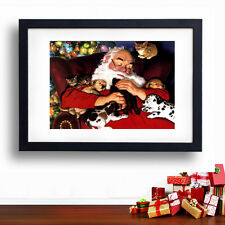 A3 CHRISTMAS POSTER * Santa Xmas with Baby Animals* Kids Vintage Wall Decoration