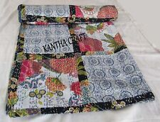 Cotton Tropicana Print Patchwork kantha Bedding Quilt,Throw Blanket Bed cover