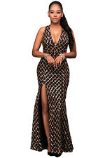 NEW BLACK GOLD SEQUIN DIAMOND EVENING COCKTAIL GOWN SIZE 10 12