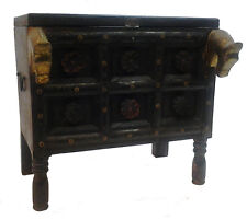 Arredamento etnico cassapanca massello di teak intagliata Horses brass