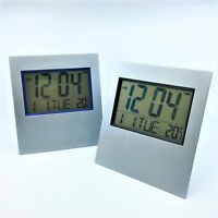 LCD Digital Silver Table Clock / Wall Clock with Calendar Temperature Alarm
