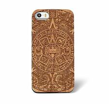 Laser Engraved Mayan Aztec Calendar on Genuine Wood phone Case for iPhone 5/S