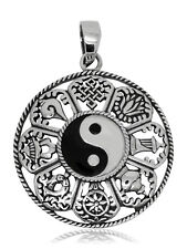 925 solid Sterling Silver Yin Yang Feng Shui w. 8 Buddhist Lucky symbols pendant