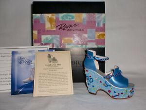 NIB 2001 Just the Right Shoe Mardi Gras BLUE Artist Edition SIGNED by Raine