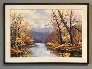 """"""" Fall Blaze"""" W Harold Hancock Oil Painting Brown County Indiana Artist A-1"""