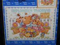 Janlynn Honey Bears Birth Announcement Counted Cross Stitch Kit NEW Baby 15x12""