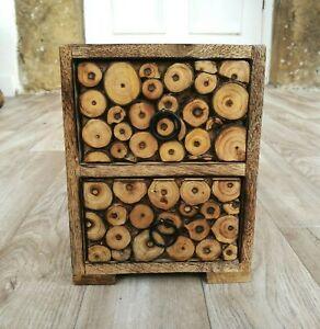 Mini Chest of Drawers, Log Slice, Fair Trade, Mango Wood, Decorative Storage
