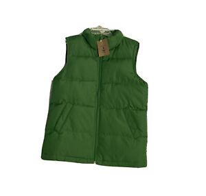 Lands End Down Vest Kids L 7 Juniper Green Down Puffer Full Zip NWT OPP Boys