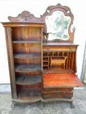 Victorian Antique Side-by-Side Oak Desk/Bookcase Combination