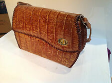 VINTAGE COCCODRILLO pelle Leather Handbag 1960's 70's Made in Calcutta