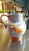 Vietri Hand Painted Water Juice Ice Tea Pitcher Tree Reindeer Made in Italy