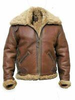 Mens Aviator RAF B3 Flying Bomber Real Fur Shearling Sheepskin Leather Jacket