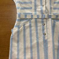 Vintage 70's Australian Made Neater Fashions Sydney Pale Blue Stripe Dress Sz 14