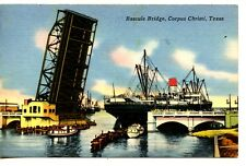 Bascule Bridge-Ship-Drawbridge-Corpus Christi-Texas-Vintage Linen 1958 Postcard
