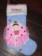 "New Pottery Barn Monogram ""Tiffani"" Applique Ballerina Christmas Stocking"