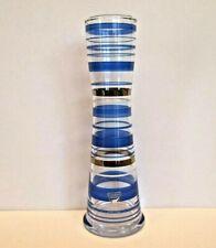 """Orrefors 8"""" Blue Striped Vase from Sweden, Signed"""