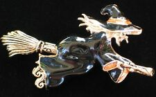 NIB NAPIER FUN SCARY HAPPY HALLOWEEN FLYING BROOM WITCH PIN BROOCH JEWELRY 2.5""