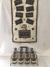 Complete Set Georges Briard Muddled Wisdom Mid Century Glass Tumblers Bar Towel