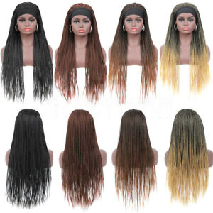 Headband Wigs Long Box Braids Synthetic Ombre Brown Blonde Full Braided Wigs