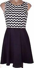 New Love Culture S, small Black & White keyhole back sleeveless skater dress