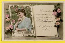 cpa JEUNE FEMME FLEURS CARNET BONNE FÊTE à Louise DEVIDAL de JOYEUSE, Ardèche