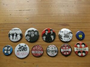 THE BEATLES - LOT OF 11 x PIN BACK BUTTON COLLECTION