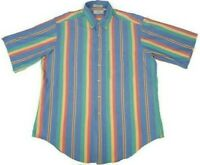 Cotton Brothers Mens XL Multicolor Pastel Striped Shirt  Made In USA Vtg 80s 90s