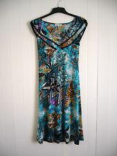 Neues Kleid türkis schwarz Blumen Sommer Hawaii stretch L glatter weicher Stoff