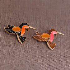 set of 2 flying hard enamel pins, bird animals nature orange red black brooch