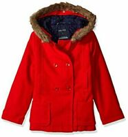 New Nautica Big Girls Wool-Feel Peacoat With Faux Fur Trim, Red, size  8