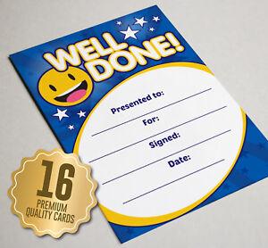 Well Done Award Certificate BLUE Smiley - 16 A6 Size - Great Kids School Reward
