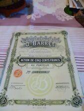 z Rare action de 500 francs  fabrique de soieries J-Barret 1929