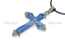 Stainless Steel Cross Pendant Necklace Jewelry Royal Blue Spanish Bible Angular