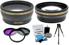 2Pc Lens 3Pc Filter Mini Tripod+Clean Kit For Canon Rebel T5i T4i Ti T3 T2i T1i