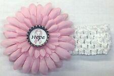 NWOT Breast Cancer Awareness Bottle Cap Flower & Headband - CHOICE of Saying