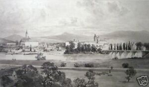 """Alphonse Jacques Levy: """"View of French Village"""" Drawing"""