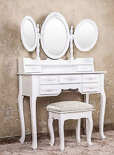 Luxury White Wooden Bedroom Dressing Table 3 Make Up Vanity Mirrors & Stool