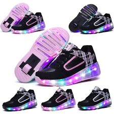 Kids Girls Boys Light Roller Heelys Skate LED Shoes Size UK Flash Jazzy Junior