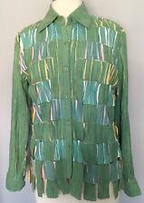 Fantazia Shirt Jacket Sublimated Basketweave Faux Suede Green Multi Sz S EUC