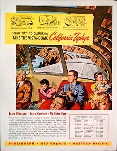 1949 California Zephyr Railroad California-Chicago Family Vacation Art Print Ad