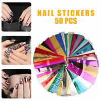 50pcs/set Nail Foil Nail Art Transfer Sticker Water Slide Nail Art Decal Decor