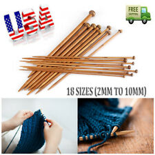Single Pointed Knitting Needles Set Carbonized Natural Bamboo 18 Sizes 2mm-10mm
