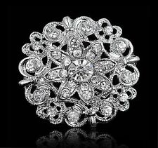 Crystals Flower Wedding Brooches Pin Fashion Silver Rhinestone Flower Diamond
