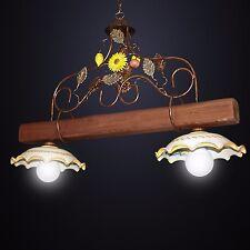 BILANCIERE lampadario RUSTICO ferro battuto CERAMICA LEGNO MOD. GIRASOLE 2 luci