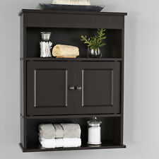 Espresso Bathroom Wall Cabinet Open & Concealed Medicine Storage Shelf