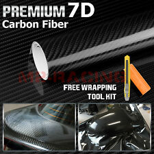 "12""x60"" 7D High Gloss Black Carbon Fiber Vinyl Wrap Bubble Free Air Release"